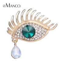 Angel eye & teardrop brooch pin gold plated brooches for women 2015 exquisite crystal rhinestone alloy brooch eManco BR02925