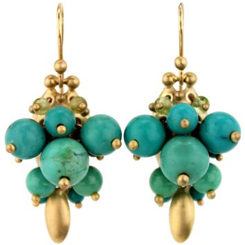 Ted Muehling Chinese Turquoise Bug Cluster Earrings