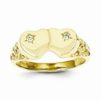 10k Yellow Gold Double Heart CZ Ring
