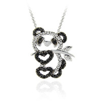 Sterling Silver Black Diamond Accent Panda Bear Necklace | Overstock.com