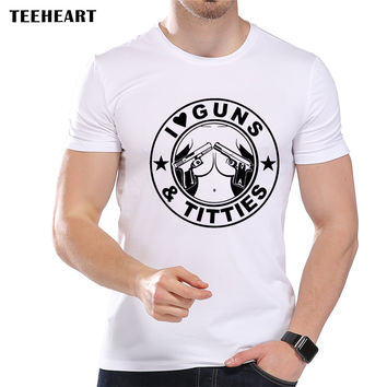 Men's Fashion I Love Gun and Titties Design T shirt Cool Tops Short Sleeve Hipster Funny Tees