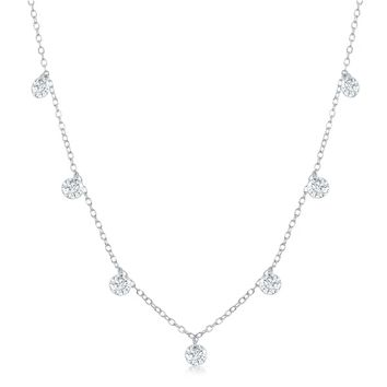 La Preciosa Sterling Silver or Rose Gold Dainty Dangling Cubic Zirconia 16+2'' Necklace | Overstock.com Shopping - The Best Deals on Cubic Zirconia Necklaces