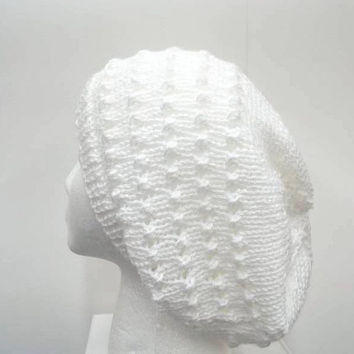 White slouch hat with eyelets hand knitted hat large size 5262