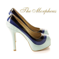 BLue Multi Color Platform Peep Toe Pump Heels-This product is available for pre-order only