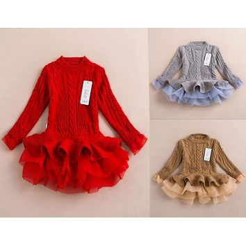 Girl Dress Thick Warm Girl Dress Christmas Wedding Party Dresses Knitted Chiffon Winter Kids Girls Clothes Children CLothing