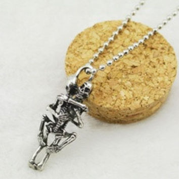 Men Women Infinity Love Silver Plated Couple Skulls Hug Pendant Chain Necklace [8824204423]