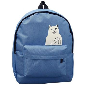TEXU Backpack for Teenagers Girls Animal finger Cat Printing Children School Backpack Kids Women chic Rucksack