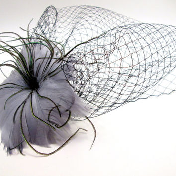 Vintage Inspired Gray Feather Flower with Birdcage Veil Blusher Fascinator - Winter - steampunk wedding - ghost bride zombie bride