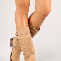 Quilted Faux Suede and Leatherette Mid Calf Riding Boot