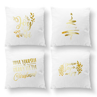 SET of 4 Pillows, Joy To The World, Merry Christmas, Throw Pillow, Gold Pillow, Cushion Cover, Bed Pillow, Christmas Pillow, Xmas Pillow