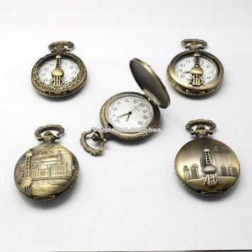 Vintage Zinc Alloy Quartz Watch Heads for Pocket Watch Pendant Necklace Making Flat Round with Mixed Oriental Pearl Tower,