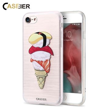 CASEIER Phone Case For iPhone 6 6s Plus Cover Cute Sushi 3D Print Capa Soft TPU Coque Cat Fashion Food Cases For iPhone 6 6s