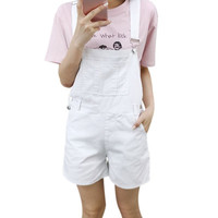 Women Loose Brief Straps Shorts Candy Color White Black Pink Shorts Overalls Slim Casual Summer Denim Bodysuit College Style