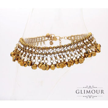 Handmade Gold Kundan Stoned Indian Bollywood Anklet, Payal, Ankle Chain with lots of Bells *Buy Single or Pair*