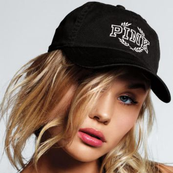 Fashion Online Victoria's Secret Pink Black/light Grey Baseball Cap Hat
