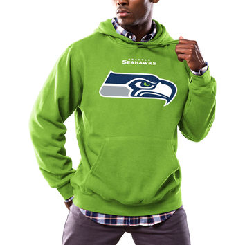 Men's Seattle Seahawks Majestic Neon Green Critical Victory Pullover Hoodie