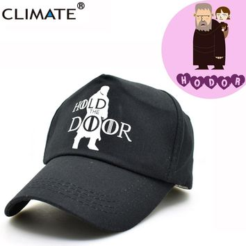 CLIMATE Game Of Thrones Caps Hodor Hold The Door Adjustable Baseball Caps Unisex Men Women Jon Snow Stark Black Cool Hat Caps