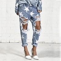 BringBring 2017 Summer Big Hole Jeans for Women With Five-pointed Star Ripped Jeans  Light Blue Denim Pants boyfriend jeans 1523