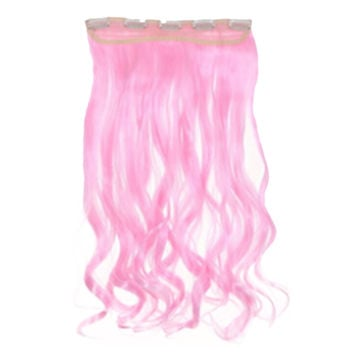Long Curled Hair Extension 5 Cards Wig   Light Pink