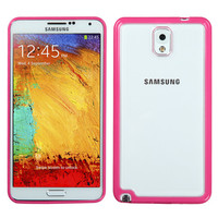 MYBAT Hybrid Gummy Case for Galaxy Note 3 - Glassy Clear/Hot Pink