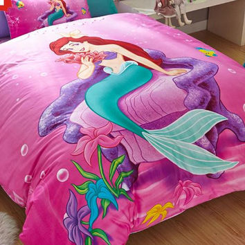 Free shipping Mermaid Twin full size Pink queen Girls Duvet Cover Sets for Kids Bedding Set 1 Duvet cover and 2 Pillowcases