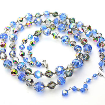 Aurora Borealis Double Strand Crystal Necklace - 1950s / b7