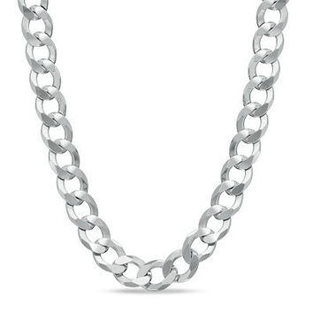 "Men's Sterling Silver 7.0mm Curb Chain Necklace - 22"" - Save on Select Styles - Zales"