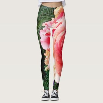 Cute cool fun vivid giant pink rose photo leggings