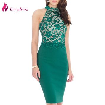 Berydress Elegant Women Wedding Cocktail Lace Patchwork Stretchy Sexy Halter Neck Keyhole Back Sheath Bodycon Pencil Dress 2017