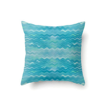 Abstract chevron pillow cover, throw pillow cover, turquoise pillow, blue pillow, boho decor, bohemian decor, aqua pillow, decorative pillow