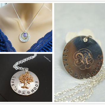 Birthstone necklace delicate initial named necklace, monogram necklace letter ne
