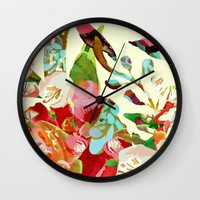 clown floral Wall Clock by Clemm