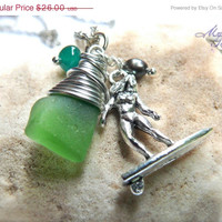 ON SALE Sea Glass Jewelry from Hawaii surf necklace with green seaglass surfer chick charm