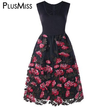 PlusMiss Plus Size 5XL Embroidered Floral Lace Elegant Evening Party Dresses Big Size 2018 Vintage Sleeveless Dress Robe Femme