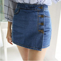 Blue Wrapped Four Buttons Denim Shorts