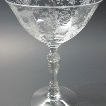 Fostoria Chintz champagne glass needle etch
