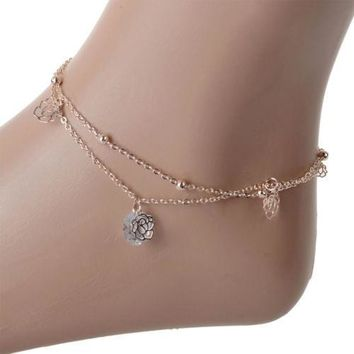 Day-First™ Fashion Girl Ladies Rose Flower Bead Ankle Anklet Bracelet Foot Double Layer Chain 1PC (With Thanksgiving&Christmas G