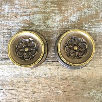 Drawer Knobs 2 Large Drawer Pulls Brass Knobs with Backplate Dresser Drawer Pulls Cabinet Door Handles Home Improvement Antique Hardware