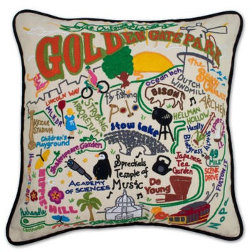 Golden Gate Park Hand Embroidered Pillow