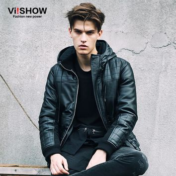 VIISHOW brand 2017 autumn/winter new coat men fashion Pu leather motorcycle jacket padded leather jacket Polyester Coat M148654