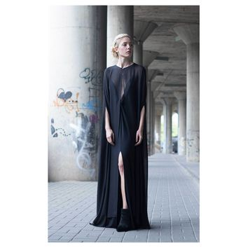 Black Silk Cape Dress