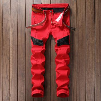 Free Shipping High Quality Men PU leather jeans Casual Design Biker Jeans Men Slim Denim Straight Ripped Men Balmaied Jeans