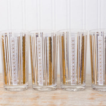 Vintage Art Deco Drinking Glasses - Gold White Grecian Drink Glass