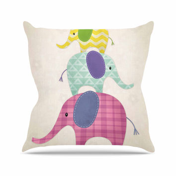 "Noonday Design ""Balancing Act "" Multicolor Kids Outdoor Throw Pillow"