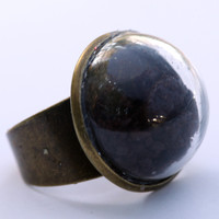 Large glass dome ring with coffee