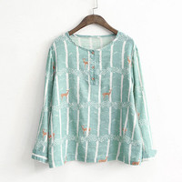 Playful elet forest Deer printing o-neck long sleeve shirt top mori girl