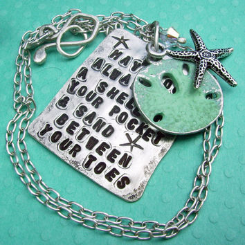Beach themed SCRIPTZ Hand Stamped Poem Charm Necklace - sterling silver w Silver Starfish, patina jewelry, Sanddollar Charm Dangle