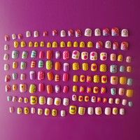 128Pcs Kawaii Children Fake Nails in Gift Box 28 Sizes Exclusive Nails Collections Smiling face Candy Carton Press-on Nails