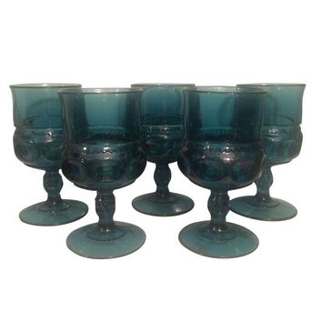 Pre-owned King's Crown Cobalt Goblets