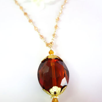 Orange Whiskey Quartz Brown Tourmaline Golden Mystic Quartz Rosary Necklace